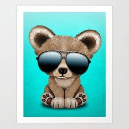 Cute Baby Bear Wearing Sunglasses Art Print