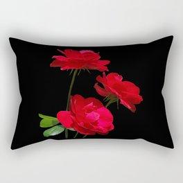 Red roses on black background Rectangular Pillow