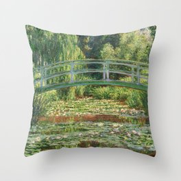 Bridge over a Pond of Water Lilies - Monet Throw Pillow