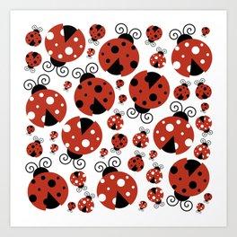 Ladybugs (Ladybirds, Lady Beetles) - Red Black Art Print