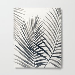 Black and White Palms Metal Print