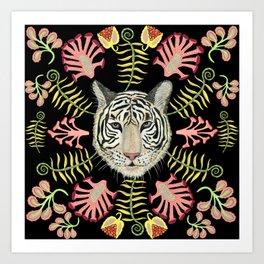 White Tiger Pattern / Black Background Art Print