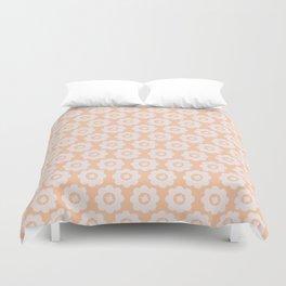 Retro Peach Floral Duvet Cover