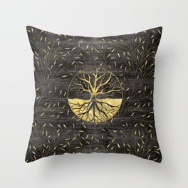 Golden Tree of life on wooden texture Throw Pillow