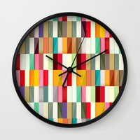 stripes Wall Clocks featuring Stripes by Danny Ivan