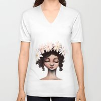 daisies V-neck T-shirts featuring Daisies by Jaleesa McLean