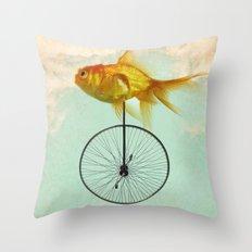 unicycle goldfish Throw Pillow