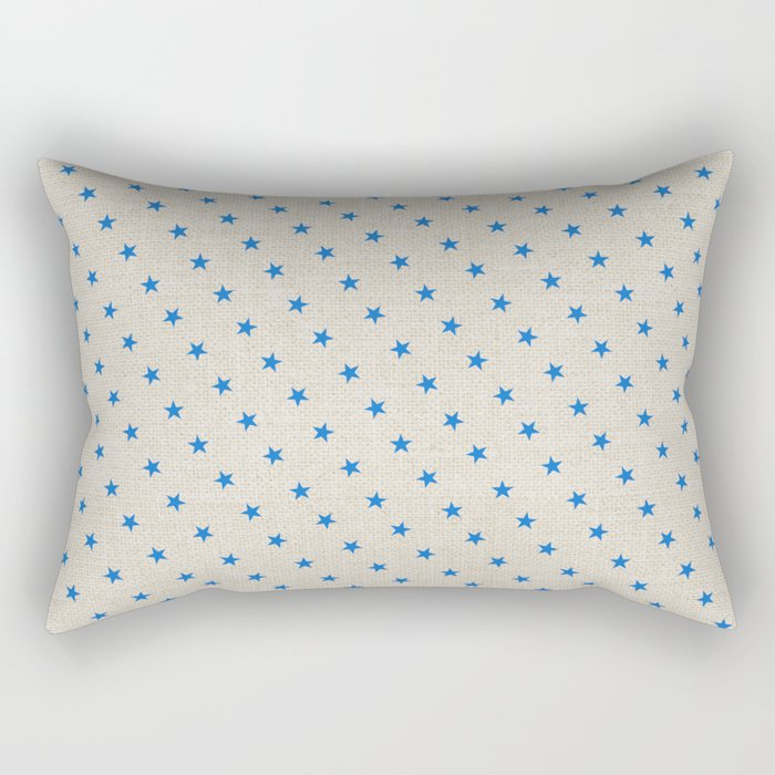 Blue Stars on Burlap Rectangular Pillow