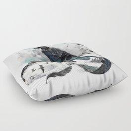 Blackwinged Birds Fly Past The Moonlit Raven's Eye Floor Pillow