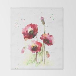 Watercolor flowers of poppy Throw Blanket
