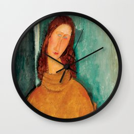 "Amedeo Modigliani ""Jeanne Hebuterne in a Yellow Jumper"" Wall Clock"