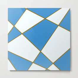 Geometric abstract - blue and brown. Metal Print