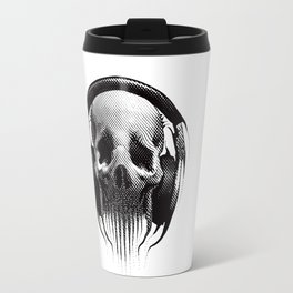 Alien Skull Listening to Music on Pro Beats Travel Mug