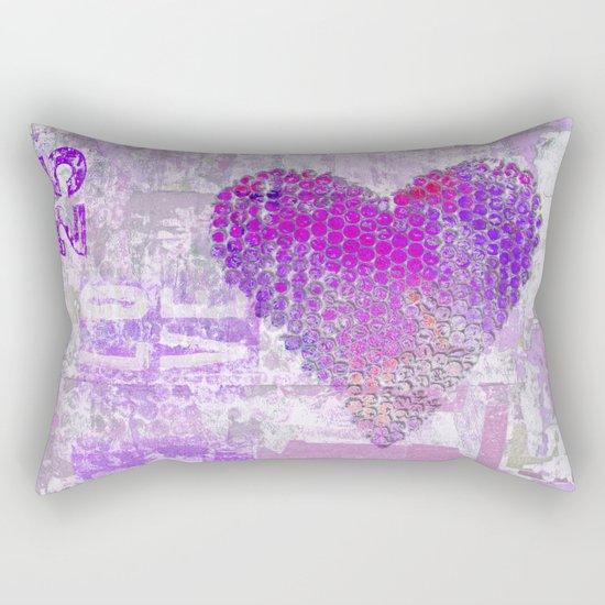Pink heart mixed media art Rectangular Pillow