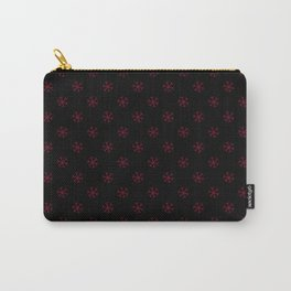 Burgundy Red on Black Snowflakes Carry-All Pouch