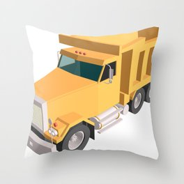 yellow dump truck Throw Pillow