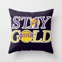 lakers Throw Pillows featuring Stay Gold by Ant Atomic