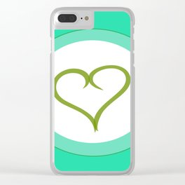 Green Heart with Love Clear iPhone Case