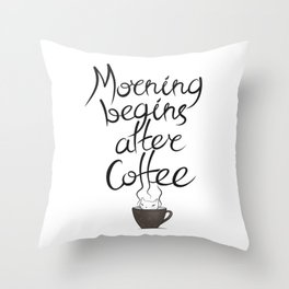 Morning Coffee Cat Throw Pillow