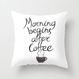 Morning Coffee Cat Throw Pillow