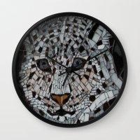 snow leopard Wall Clocks featuring Snow Leopard by ira gora