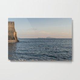 Naples Promenade with Castel Dell'Ovo and Capri Metal Print