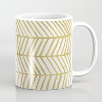 gold Mugs featuring Gold Herringbone by Cat Coquillette