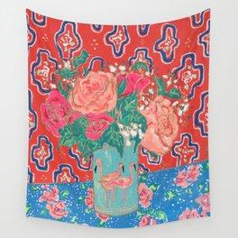 Roses in Enamel Flamingo Vase Wall Tapestry
