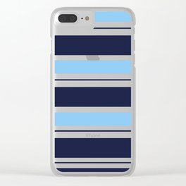 Blue Navy and Turquoise Stripes Clear iPhone Case