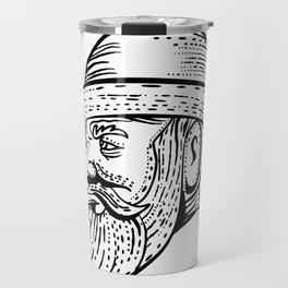 Hipster Wearing Bowler Hat Etching Black and White Travel Mug