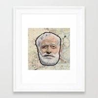 hemingway Framed Art Prints featuring Ernest Hemingway by steam