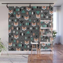 Geometric fox woodland forest pattern Wall Mural