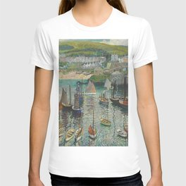 Midday in the Blue Harbor nautical landscape painting by Hayley Lever T-shirt