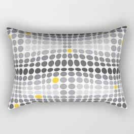 Dottywave - Grey and yellow wave dots pattern Rectangular Pillow