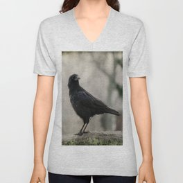 Crow In A Dark Rain  Unisex V-Neck