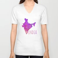 india V-neck T-shirts featuring India by Stephanie Wittenburg