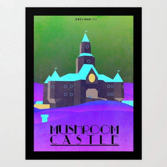 Mario - Mushroom Castle travel poster Art Print