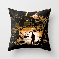 fishing Throw Pillows featuring Fishing by Svetlana Korneliuk