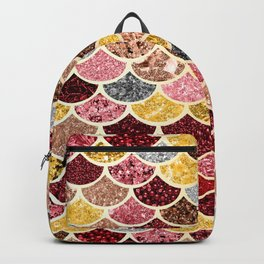 Glitter Gold, Pink and Red Mermaid Scales Pattern Backpack