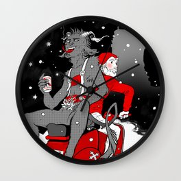 Krampus and Nick Wall Clock