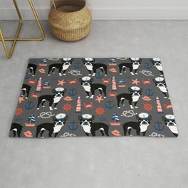 Boston Terrier nautical sailing lighthouse sailor pattern terriers dog breed Rug