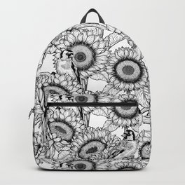 Sunflowers and goldfinches in black and white Backpack