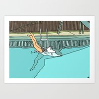 diver Art Prints featuring Diver by Highly Anticipated
