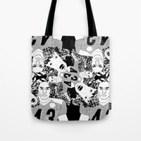 steelers Tote Bags featuring Troy Polamalu's Poodle Hair by sabsurd