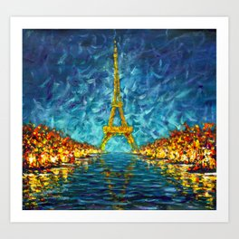 Artwork for sale The night Eiffel Tower Paris is reflected in river Seine original artwork. Art Print