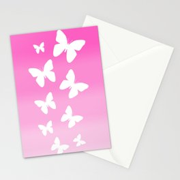 Pink Butterfly Ombre Fade Stationery Cards