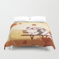 camus Duvet Covers featuring Wind of October by Alessandra Fusi