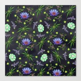 Smokeable Hallucinogenic Plants Pattern Canvas Print