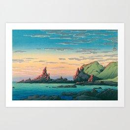 Sunset At Oga Peninsula - Vintage Japanese Woodblock Print Art By Hasui Kawase Art Print