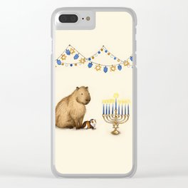 Capy Hanukkah - Capybara and Menorah Clear iPhone Case